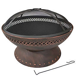 Sunnydaze Decor Chalice Fire Pit with Screen Cover in Copper