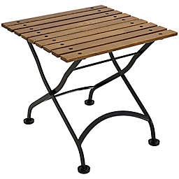 Sunnydaze 20-Inch Square Chestnut Wood Folding Bistro Table