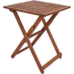 Sunnydaze Decor Meranti Folding Square Wood Bistro Table in Brown