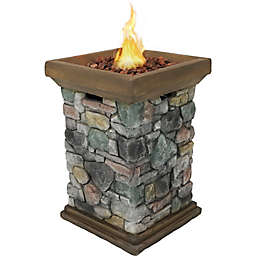 Sunnydaze Decor Rock Column Design Gas Fire Pit in Grey