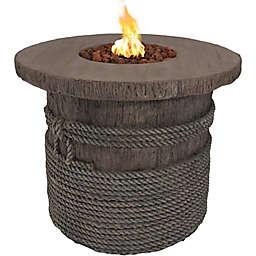 Sunnydaze Decor Rope & Barrel Propane Gas Fire Pit in Light Brown
