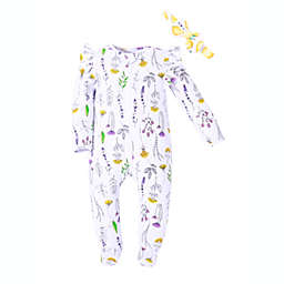 Kidding Around 2-Piece Herb Garden Footie and Headband Set in White Floral