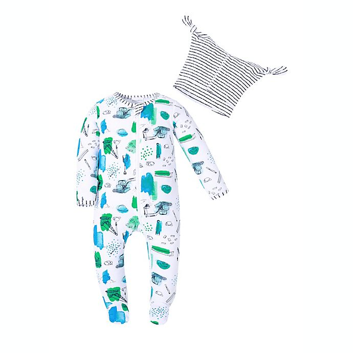 Alternate image 1 for Kidding Around® Size 9M 2-Piece Construction Print Footie and Beanie Set in Blue