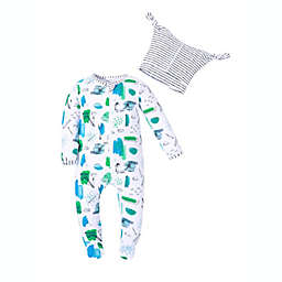 Kidding Around® 2-Piece Construction Print Footie and Beanie Set in Blue