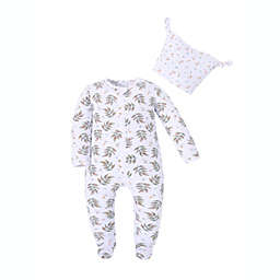 Kidding Around Spring Leaves Size 9M Footie and Beanie Set in White/Green