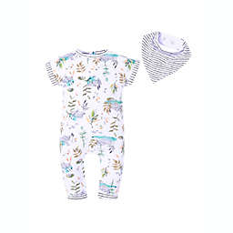 Kidding Around Summer Boating Size 9M Long Leg Romper and Bib Set in Sage