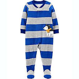carter's® Size 12M Husky Stripe Fleece Footie Pajama in Blue/Grey