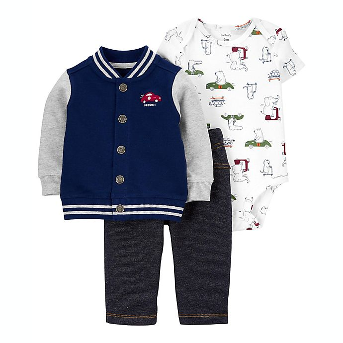 Alternate image 1 for carter's® Size 3M 3-Piece Little Cardigan, Bodysuit, and Pant Set in Navy
