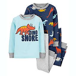 "carter's® 4-Piece ""Dino Snore"" Pajama Set in Blue"