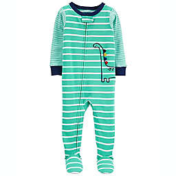 carter's® Dinosaur Zip Front Footed Pajamas in Green