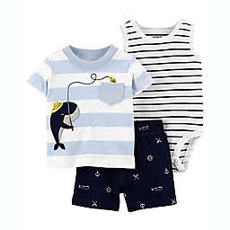 carter's® Size 9M 3-Piece Whale Sleeveless Bodysuit, T-Shirt and Short Set in Light Blue