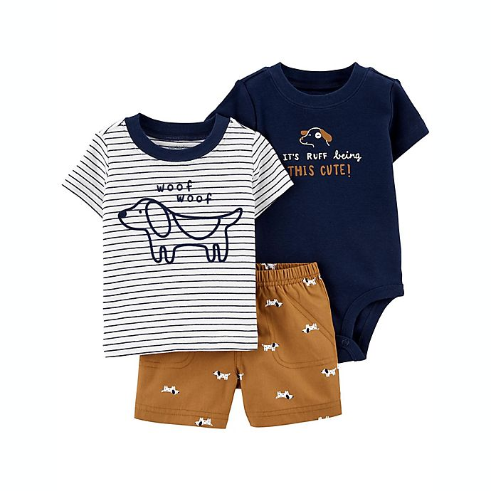 Alternate image 1 for carter's® Size 9M 3-Piece Striped Dog Short Sleeve Bodysuit, T-Shirt and Short Set in Brown