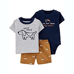 carter's® Size 9M 3-Piece Striped Dog Short Sleeve Bodysuit, T-Shirt and Short Set in Brown