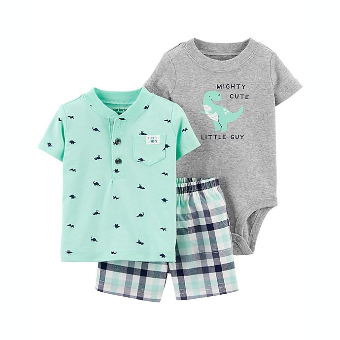 Alternate image 1 for carter's® Size 3M 3-Piece Dino Short Sleeve Bodysuit, T-Shirt and Short Set in Mint