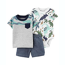 carter's® Size 3M 3-Piece Dino Short Sleeve Bodysuit, T-Shirt and Short Set in Grey