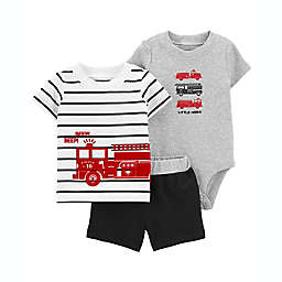 "carter's® 3-Piece ""Little Hero"" T-Shirt, Bodysuit and Short Set in Black/White"