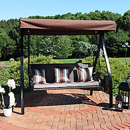 Sunnydaze Striped Cushion Patio Swing with Tables in Brown