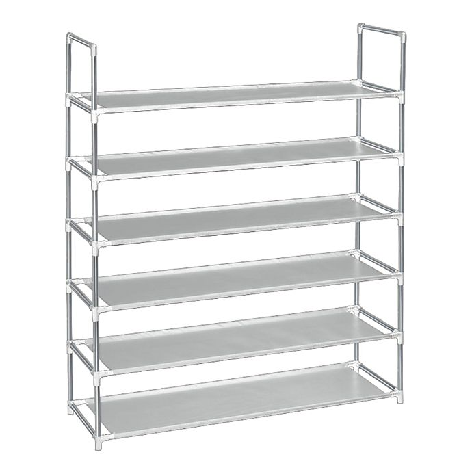 Alternate image 1 for Simply Essential™ 6-Tier Fabric Shoe Rack in Grey