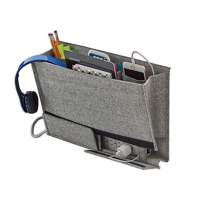 Alternate image 1 for Squared Away™ Arrow Weave Bedside Caddy in Grey