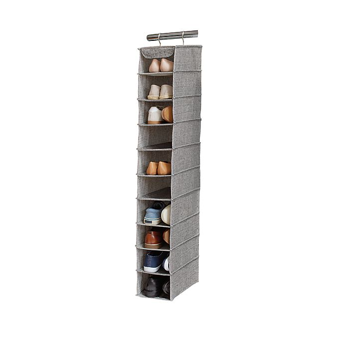 Alternate image 1 for Squared Away™ Arrow Weave 10-Shelf Deluxe Clothing and Shoe Organizer in Grey