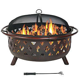 Sunnydaze Decor Crossweave Wood-Burning Fire Pit with Screen Cover and Poker in Bronze