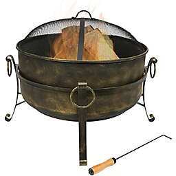 Sunnydaze Cauldron Wood-Burning Fire Pit in Black