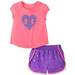 Under Armour® Size 18M 2-Piece Heart Logo Bodysuit and Short Set in Pink/Purple Speckle