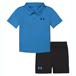 Under Armour® Size 24M 2-Piece Polo Shirt and Short Set in Blue/Black