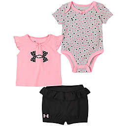 Under Armour® 3-Piece Logo Dots Bodysuit, Shirt and Short Set in Pink/Navy