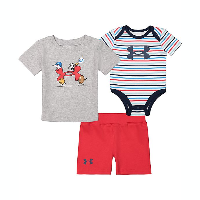 Alternate image 1 for Under Armour® 3-Piece Big Lift Logo Shirt, Bodysuit, and Short Set in Grey/Red