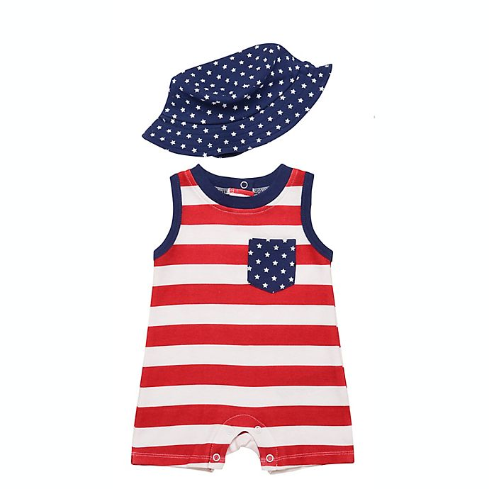 Alternate image 1 for Baby Starters® 2-Piece Stars and Stripes Romper and Hat Set in Red/White/Blue