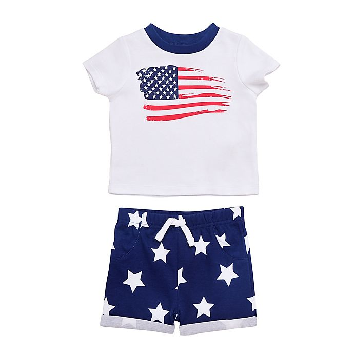 Alternate image 1 for Baby Starters®  2-Piece Patriotic T-Shirt and Short Set in Navy/White