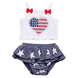 Baby Starters® 2 Piece Patriotic Heart Tank and Skirt Set in White/Chambray