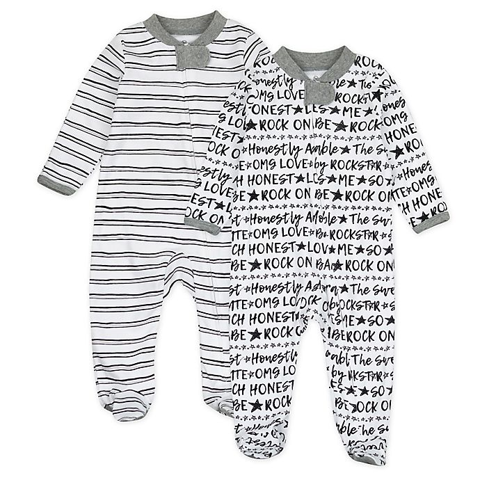 Alternate image 1 for The Honest Company® 2-Pack Words Organic Cotton Sleep & Play Footies