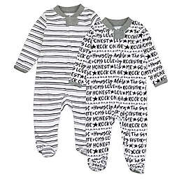 The Honest Company® Size 0-3M 2-Pack Words Organic Cotton Sleep & Play Footies