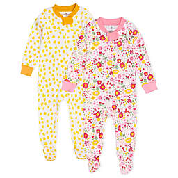 The Honest Company® Size 18M 2-Pack Daisy Burst Organic Cotton Footed Pajamas in Pink/White