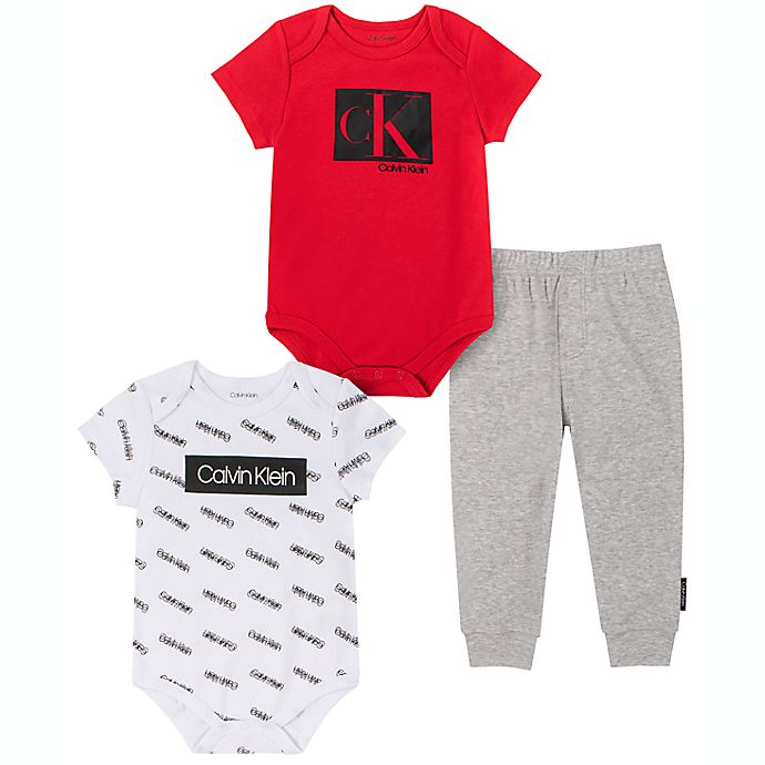 Alternate image 1 for Calvin Klein Size 6-9M 3-Piece Bodysuit and Pant Set in Red/Black