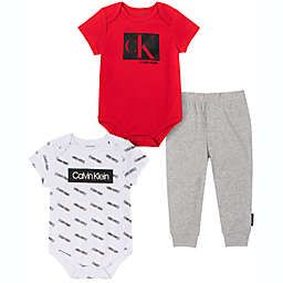 Calvin Klein Size 3-6M 3-Piece Bodysuit and Pant Set in Red/Black