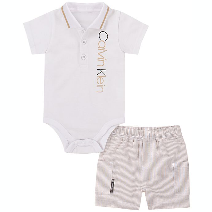 Alternate image 1 for Calvin Klein® 2-Piece Polo Bodysuit and Short Set in Ivory
