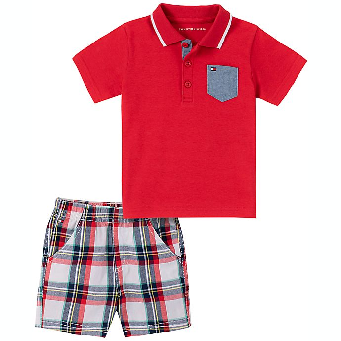 Alternate image 1 for Tommy Hilfiger® Size 24M 2-Piece Polo Shirt and Plaid Short Set in Red