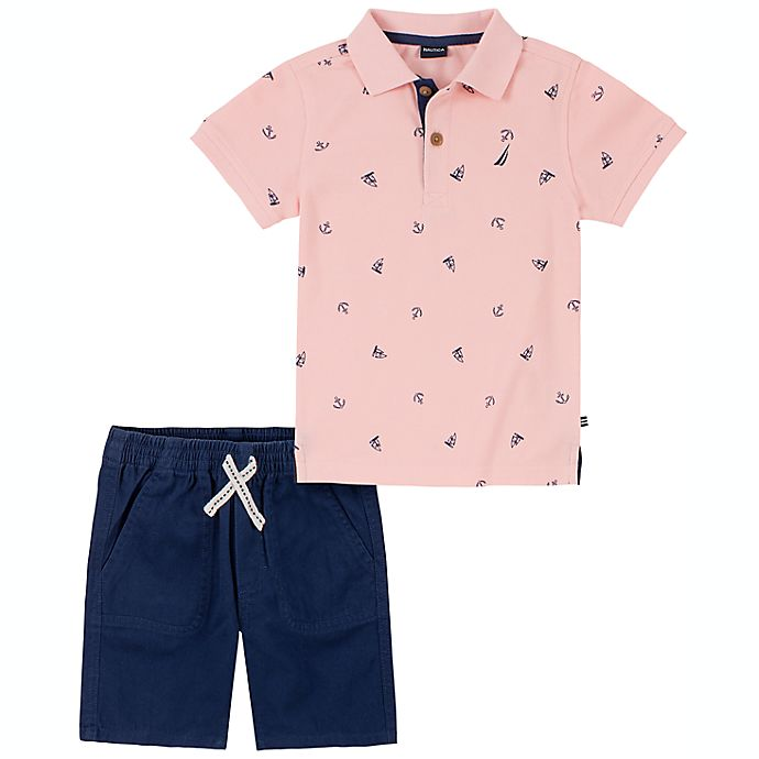 Alternate image 1 for Nautica® Size 24M 2-Piece Polo Shirt and Short Set in Pink/Blue