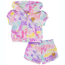 Juicy Couture® 2-Piece Tie Dye Short and Hoodie Set in Pink