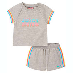 Juicy Couture® 2-Piece Rainbow T-Shirt and Short Set in Grey