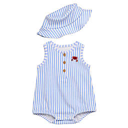 Baby Starters® 2-Piece Embroidered Crab Romper and Bucket Hat Set in Blue
