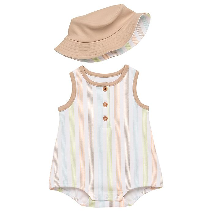 Alternate image 1 for Baby Starters® 2-Piece Stripe Sleeveless Romper and Bucket Hat Set