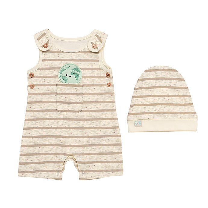 Alternate image 1 for Baby Starters® 2-Piece Save the Earth Stripe Sleeveless Romper and Hat Set in White