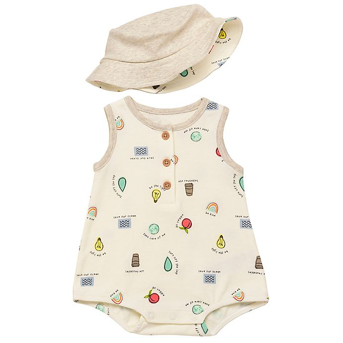 Alternate image 1 for Baby Starters® 2-Piece Save The Planet Bubble Romper and Bucket Hat Set in Egret