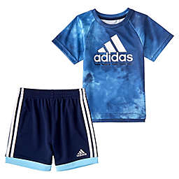 adidas® 2-Piece Tie Dye T-Shirt and Short Set in Blue
