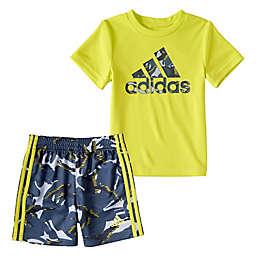 adidas® 2-Piece Action Camo Tee & Short Set in Yellow
