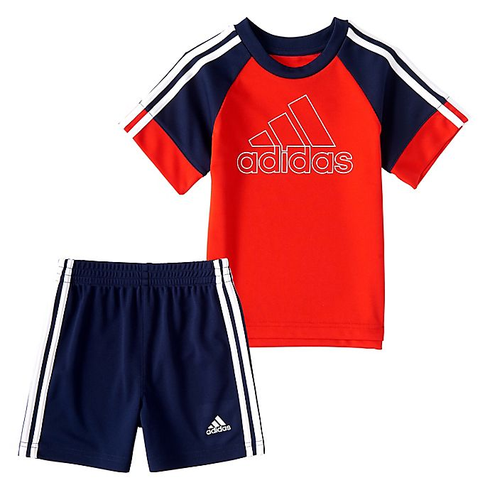 Alternate image 1 for adidas® Size 24M 2-Piece Goals T-Shirt and Short Set in Red